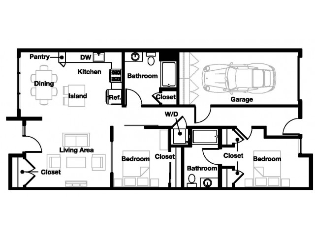 Two bedroom two bathroom B7 Floorplan at L Seven Apartments in San Francisco, CA