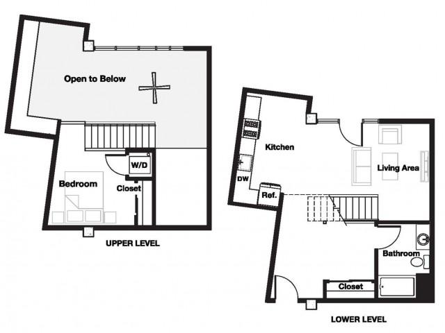 One bedroom one bathroom A17L Floorplan at L Seven Apartments in San Francisco, CA