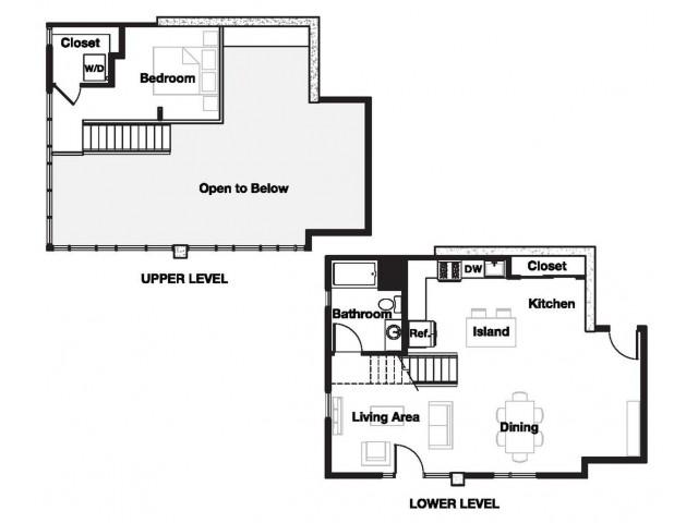 One bedroom one bathroom A18L Floorplan at L Seven Apartments in San Francisco, CA