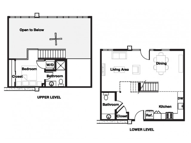 One bedroom one and a half bathroom A19L Floorplan at L Seven Apartments in San Francisco, CA