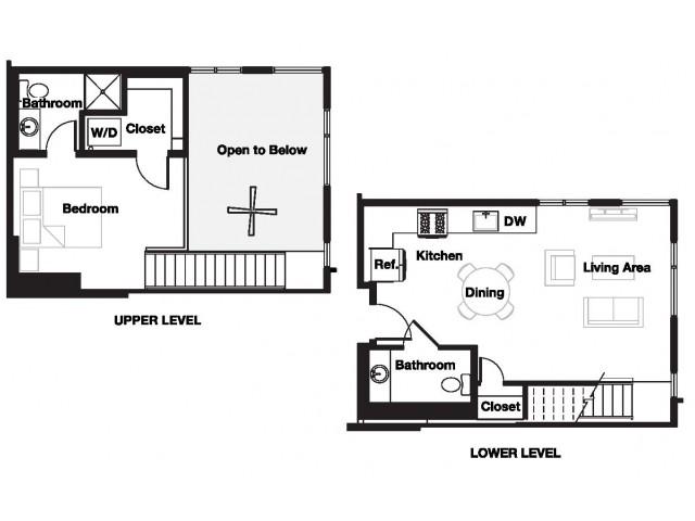 One bedroom one and a half bathroom A20L Floorplan at L Seven Apartments in San Francisco, CA