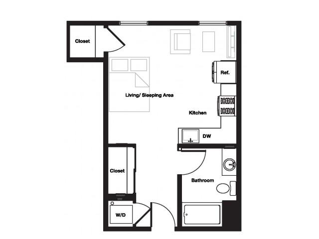 Studio One Bathroom S2 Floorplan at L Seven Apartments in San Francisco, CA