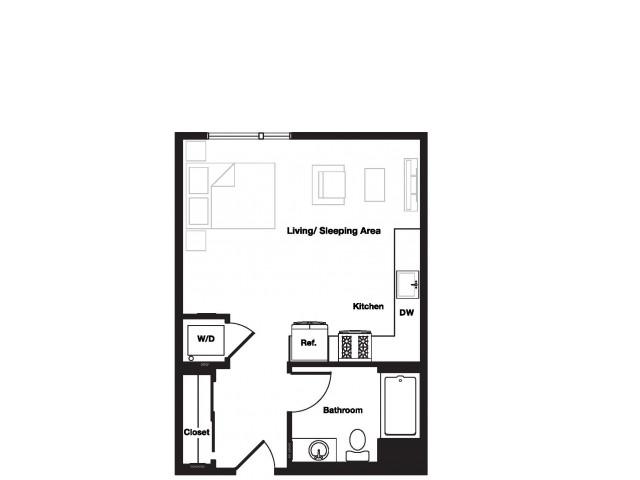 Studio One Bathroom S1 Floorplan at L Seven Apartments in San Francisco, CA