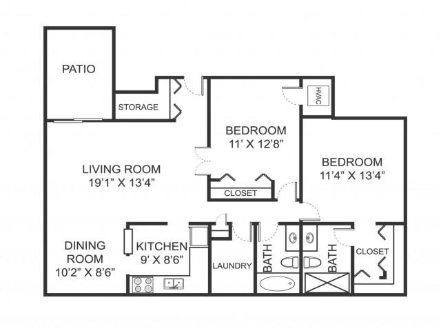 Two bedroom two bathroom B1 floorplan at Arbor Landings Apartments in Ann Arbor, MI