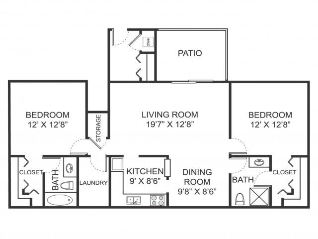 Two bedroom two bathroom B2 floorplan at Arbor Landings Apartments in Ann Arbor, MI