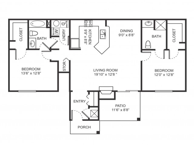 Two bedroom two bathroom B3 floorplan at Arbor Landings Apartments in Ann Arbor, MI