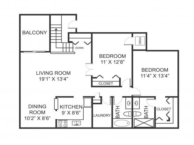 Two bedroom two bathroom B4 floorplan at Arbor Landings Apartments in Ann Arbor, MI