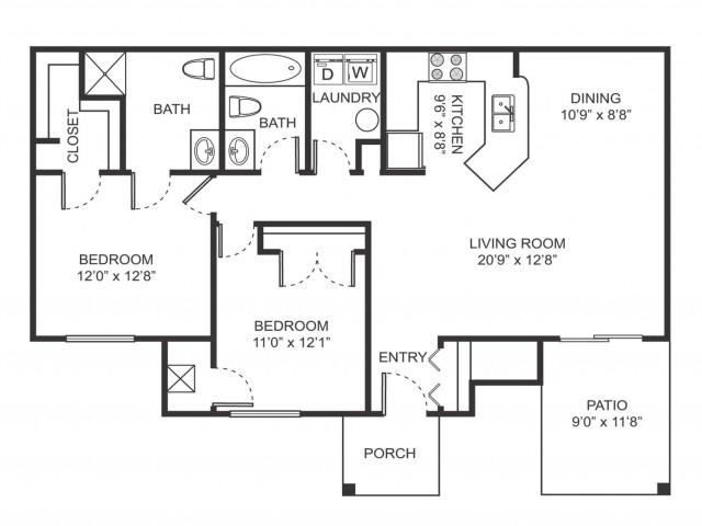 Two bedroom two bathroom B5 floorplan at Arbor Landings Apartments in Ann Arbor, MI