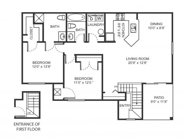 Two bedroom two bathroom B6 floorplan at Arbor Landings Apartments in Ann Arbor, MI