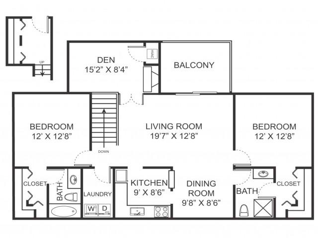 Two bedroom two bathroom B7D floorplan at Arbor Landings Apartments in Ann Arbor, MI