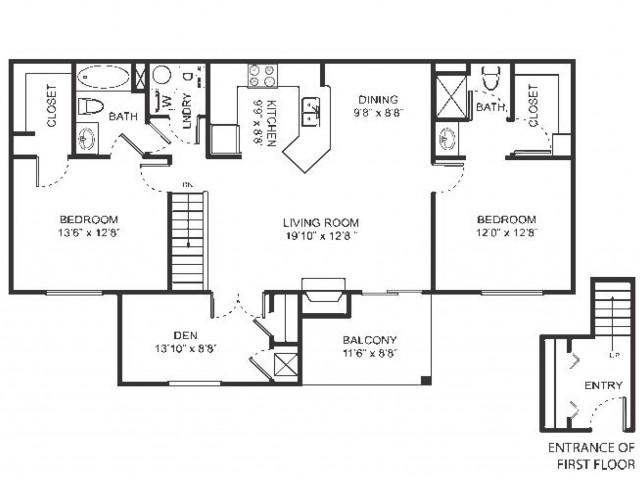 Three bedroom two bathroom C1 floorplan at Arbor Landings Apartments in Ann Arbor, MI
