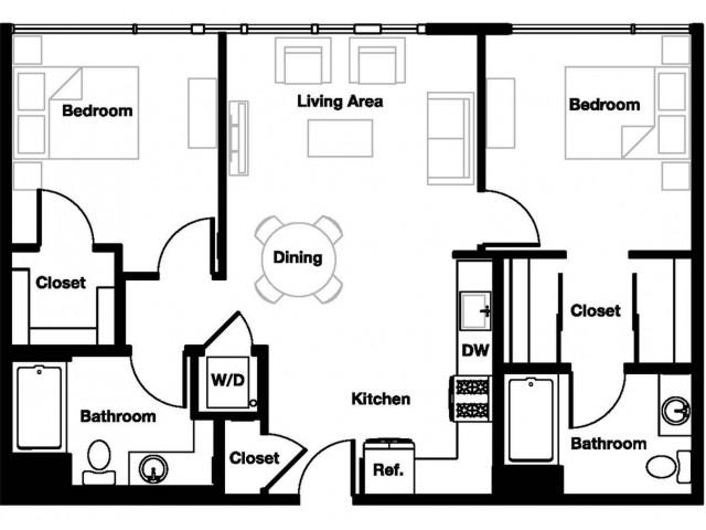 Two bedroom two bathroom B1A Floorplan at L Seven Apartments in San Francisco, CA
