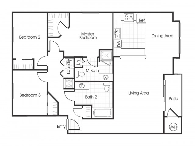 3bedroom 2 bathroom C1 floorplan at Bella Vista Apartments in Elk Grove, CA