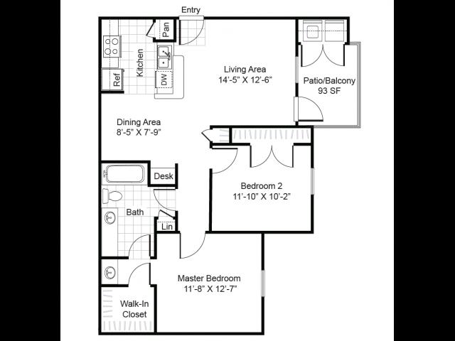 2 bedroom 1 bathroom apartment B1 floor plan at Brynwood Apartments in San Antonio, TX