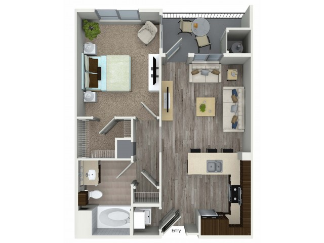 1 bedroom 1 bathroom A2 floorplan at Avaire South Bay Apartments in Inglewood, CA