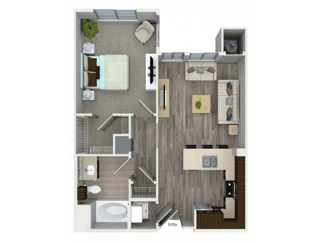 1 bedroom 1 bathroom A3 floorplan at Avaire South Bay Apartments in Inglewood, CA