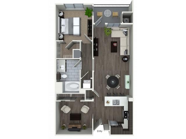 1 bedroom 1 bath plus den A5D floorplan at 1 bedroom and loft 1 bathroom A4L floorplan at Avaire South Bay Apartments in Inglewood, CA
