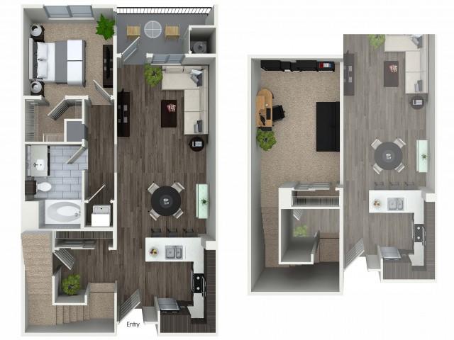 1 bedroom 1 bathroom plus loft floorplan at 1 bedroom and loft 1 bathroom A4L floorplan at Avaire South Bay Apartments in Inglewood, CA