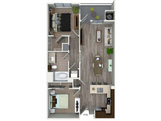 2 bedroom 1 bathroom B1 floorplan at 1 bedroom and loft 1 bathroom A4L floorplan at Avaire South Bay Apartments in Inglewood, CA