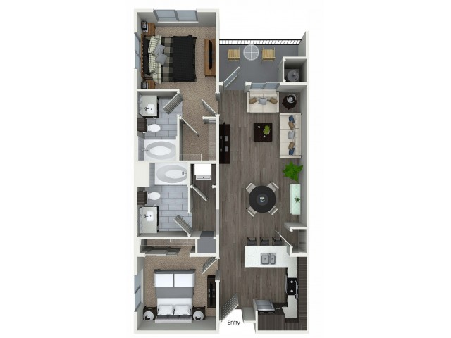 2 bedroom 2 bathroom B2 floorplan at 1 bedroom and loft 1 bathroom A4L floorplan at Avaire South Bay Apartments in Inglewood, CA