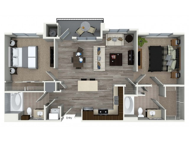 2 bedroom 2 bathroom B3 floorplan