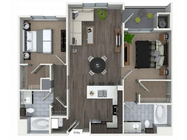 2 bedroom 2 bathroom B4 floorplan at 1 bedroom and loft 1 bathroom A4L floorplan at Avaire South Bay Apartments in Inglewood, CA