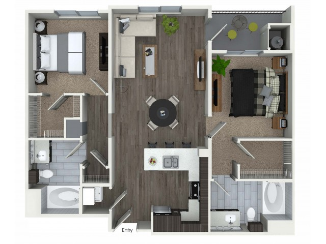 2 bedroom 2 bathroom B5 floorplan at 1 bedroom and loft 1 bathroom A4L floorplan at Avaire South Bay Apartments in Inglewood, CA