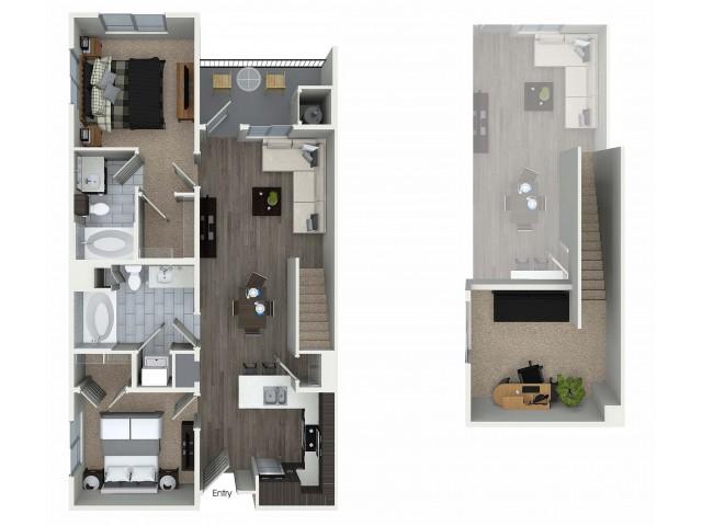 2 bedroom 2 bathroom plus loft B6L floorplan at 1 bedroom and loft 1 bathroom A4L floorplan at Avaire South Bay Apartments in Inglewood, CA