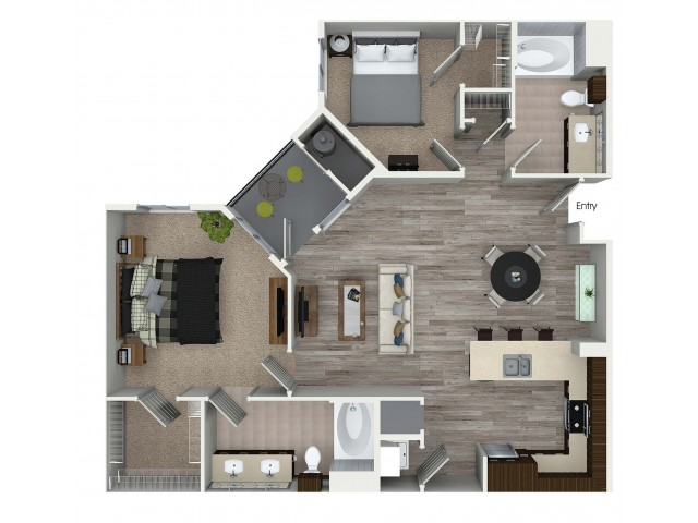 2 bedroom 2 bathroom B7 floorplan at 1 bedroom and loft 1 bathroom A4L floorplan at Avaire South Bay Apartments in Inglewood, CA