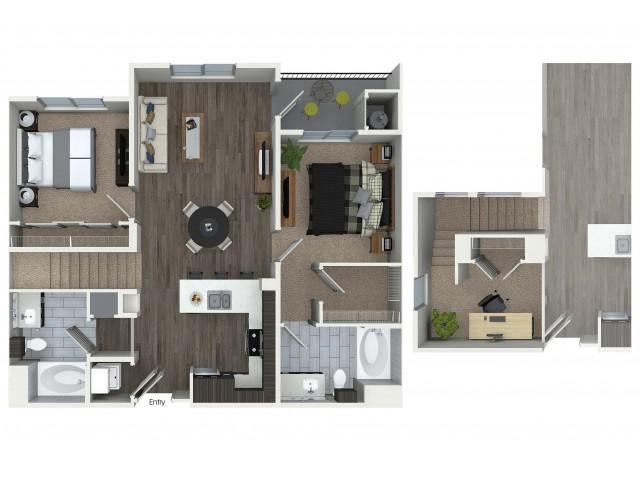 2 bedroom 2 bathroom plus loft B8L floorplan at 1 bedroom and loft 1 bathroom A4L floorplan at Avaire South Bay Apartments in Inglewood, CA