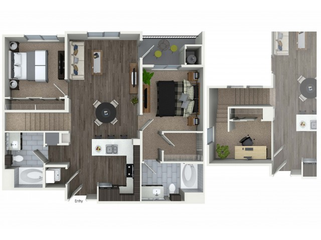 2 bedroom 2 bathroom plus loft B9L floorplan at 1 bedroom and loft 1 bathroom A4L floorplan at Avaire South Bay Apartments in Inglewood, CA