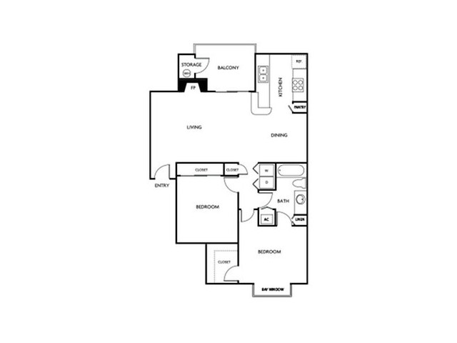 Two bedroom one bathroom B1 floor plan at Reflections at the Lakes Apartments in Las Vegas, NV