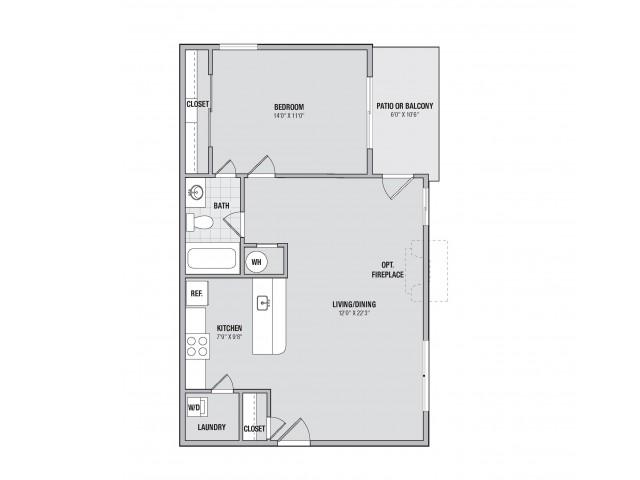 A1 1 bedroom 1 bathroom floorplan at Adler at Waters Landing in Germantown, MD