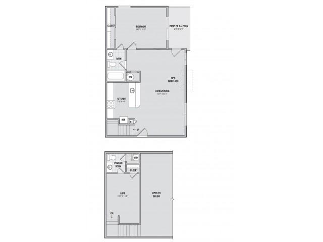 A2L 1 bedroom 1.5 bathroom floorplan at Adler at Waters Landing in Germantown, MD