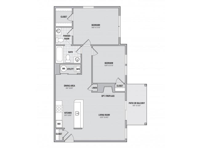 B2 2 bedroom 1.5 bathroom floorplan at Adler at Waters Landing in Germantown, MD