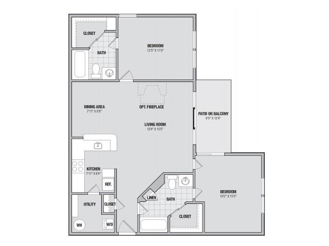 B3 2 bedroom 2 bathroom floorplan at Adler at Waters Landing in Germantown, MD