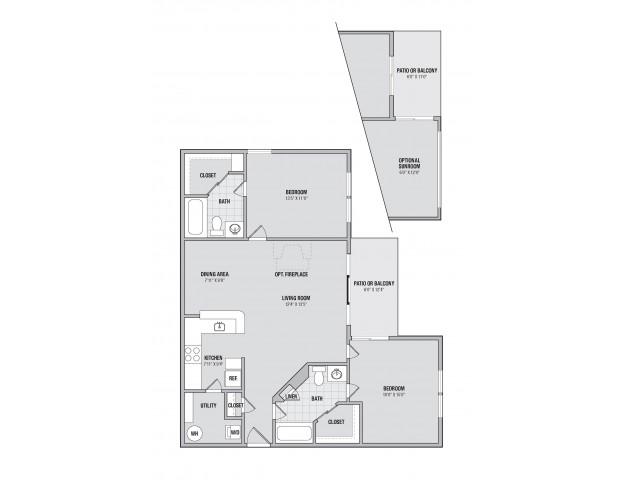 B4S 2 bedroom 2 bathroom plus sunroom floorplan at Adler at Waters Landing in Germantown, MD