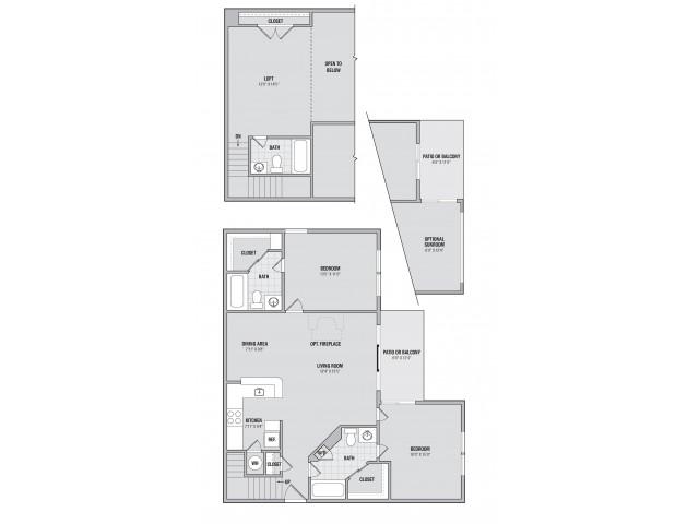 B6LS 2 bedroom 3 bathroom loft and sunroom floorplan at Adler at Waters Landing in Germantown, MD