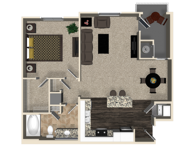 One bedroom one bathroom A1 floor plan at Capriana at Chino Hills Apartments in Chino Hills, CA
