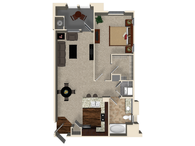 One bedroom one bathroom A2 floor plan at Capriana at Chino Hills Apartments in Chino Hills, CA