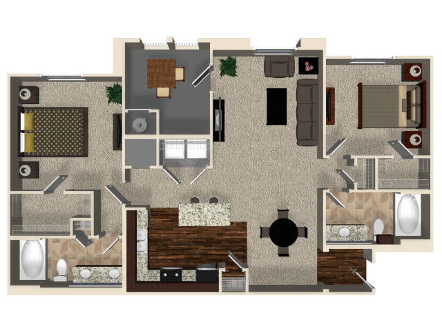 Two bedroom two bathroom B2 floor plan at Capriana at Chino Hills Apartments in Chino Hills, CA