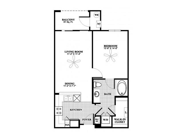 1 bedroom 1 bathroom A1 floorplan at 17 Barkley Lane Apartments in Gaithersburg, MD
