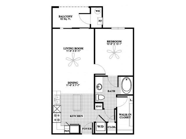 1 bedroom 1 bathroom A2 floorplan at 17 Barkley Lane Apartments in Gaithersburg, MD