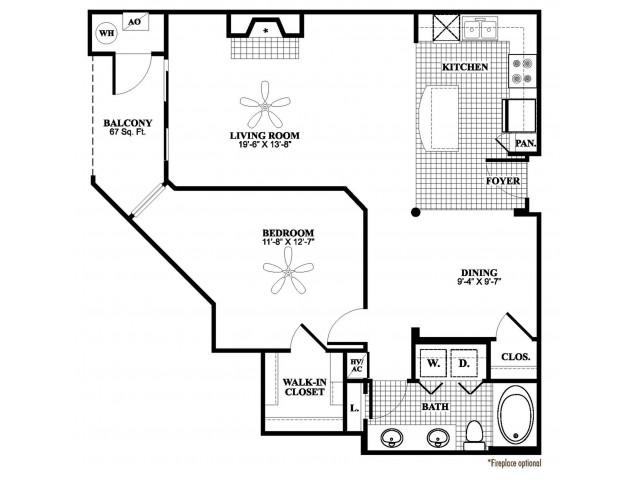 1 bedroom 1 bathroom A6 floorplan at 17 Barkley Lane Apartments in Gaithersburg, MD
