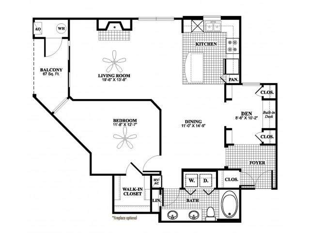 1 bedroom 1 bathroom plus den A7D floorplan at 17 Barkley Lane Apartments in Gaithersburg, MD
