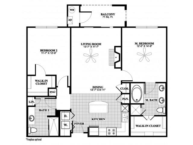 2 bedroom 2 bathroom B2 floorplan at 17 Barkley Lane Apartments in Gaithersburg, MD