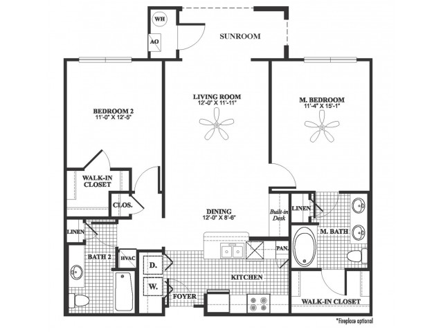 2 bedroom 2 bathroom B3 floorplan at 17 Barkley Lane Apartments in Gaithersburg, MD