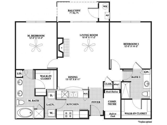 2 bedroom 2 bathroom B7 floorplan at 17 Barkley Lane Apartments in Gaithersburg, MD