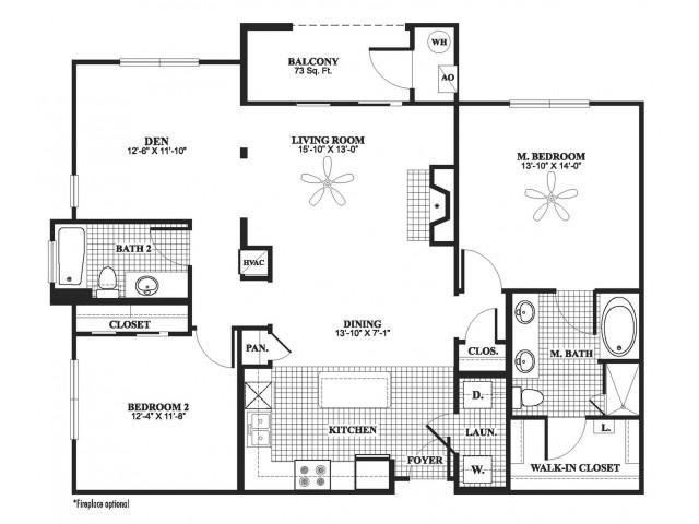 2 bedroom 2 bathroom plus den B8D floorplan at 17 Barkley Lane Apartments in Gaithersburg, MD