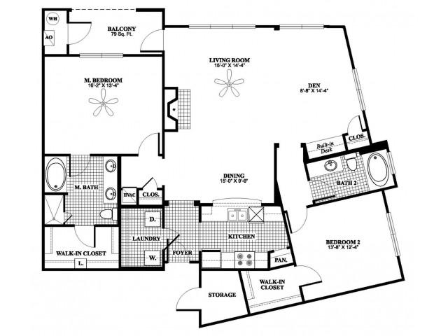 2 bedroom 2 bathroom plus den B9D floorplan at 17 Barkley Lane Apartments in Gaithersburg, MD